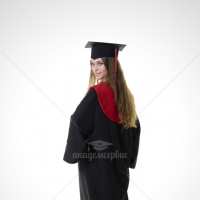 Gabardine master's academic gown with red hood and tassel