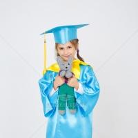 Голубая детская мантия с желтым воротником