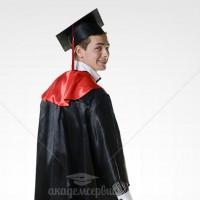 Мантия выпускника магистра, атласная с красным воротом