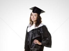 Черная мантия для выпускника, белый ворот, атлас