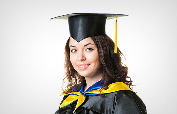 Academic gown with Ukrainian flag